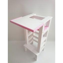 Jídelní stolek na učící věž - růžová barva