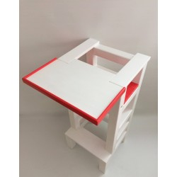 Jídelní stolek na učící věž - červená barva