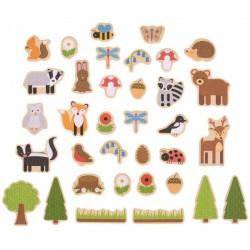 Magnetky na tabuli k učící věži - lesné zvieratká